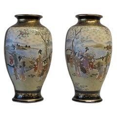 Zwei Meiji Periode Satsuma Vasen, 1868-1912