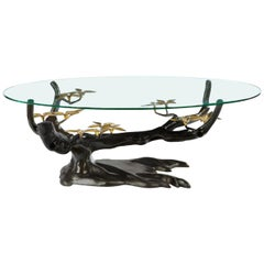 Massive Brass Coffee Table in the Style of Willy, Daro Belgium, 1970s