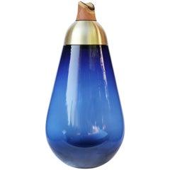 Monumental Scarabee Blue and Brass Vase, Pia Wüstenberg