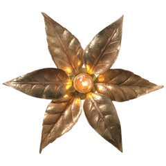 One of Six Massive Brass Flower Wall Lights, Willy Daro Style, 1970s