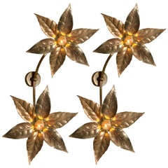Pair of Willy Daro Style Massive Dubble Flower Wall Lights, 1970