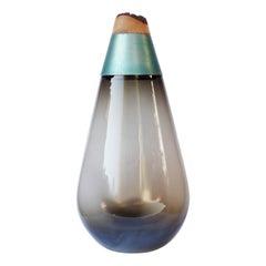 Monumental Scarabee Blown Glass and Brass Vase, Pia Wüstenberg