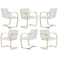 Brno Flat-Bar Chairs in Crème Velvet, Brushed Brass, Set of 6