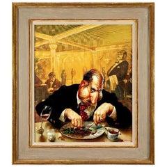 Humorous Portrait Titled 'A Tough Entrecote' 'Russian School,' Russia circa 1998