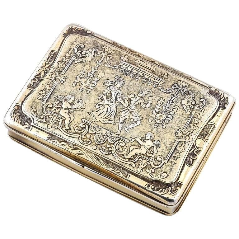 Renaissance Style German Silver Gilt Snuff Box For Sale