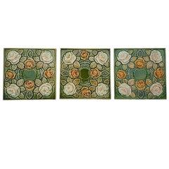 One of the 64 Antique Glazed Art Nouveau Tiles, circa 1920