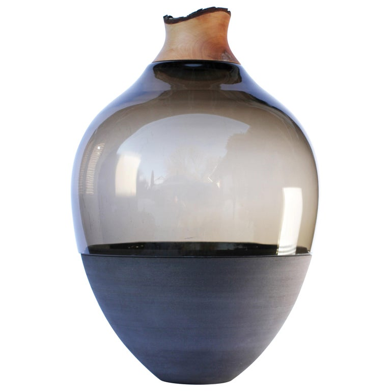 Sculpted Blown Glass and Brass Vase, Pia Wüstenberg For Sale