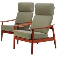 2 Arne Vodder High Back Chairs France & Son Teak, 1960s