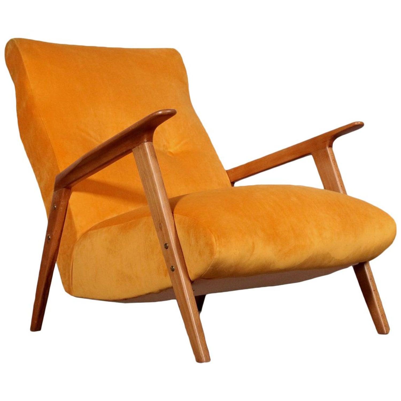 Armchair Beech Velvet Upholstery Vintage Italy 1950s At 1stdibs