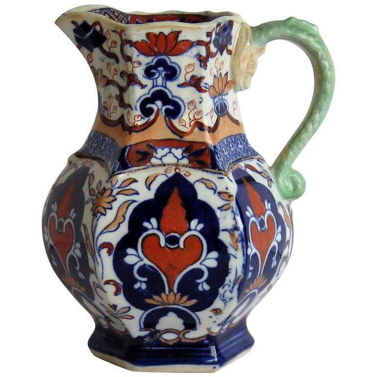 Mason's Ironstone Jug or Pitcher Rare Shape and Pattern 306, circa 1830 For Sale