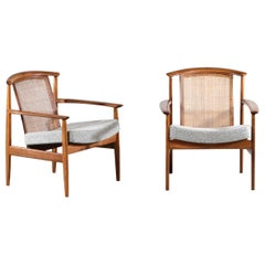 Pair of Scandinavian Lounge Chairs with Cane Backrest