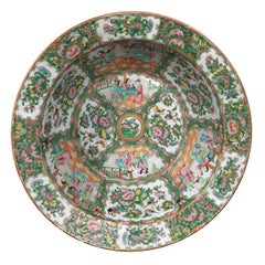 Large Canton Famille Rose Circular Punch Bowl Chinese
