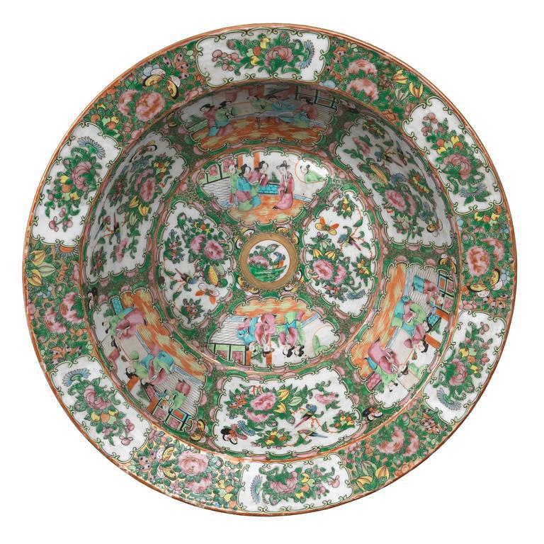 Large Canton Famille Rose Circular Punch Bowl Chinese For Sale
