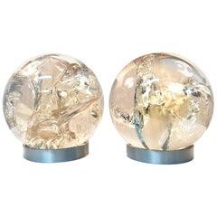 Pair of Fractal Resin Orbs Spheres on Brushed Metal Bases, 1970s