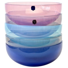 Antonio da Ros for Cenedese Murano Glass Set of Vibrantly Colored Glass Bowls