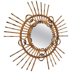 French 1950s Tiki Style Rattan and Bamboo Sunburst Wall Mirror