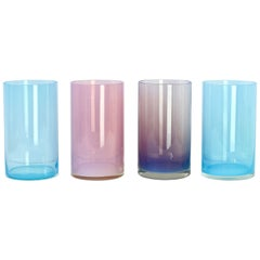 Antonio da Ros for Cenedese Murano Glass Set of Vibrantly Colored Glass Vases