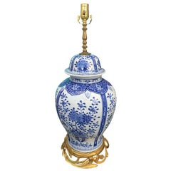 20th Century Chinese Delft Style Blue and White Bronze Mounted Lamp