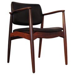 Erik Buch Model SJ 67 Rosewood & Leather Armchair for R. Skovgaard 'Ørum Mobler'