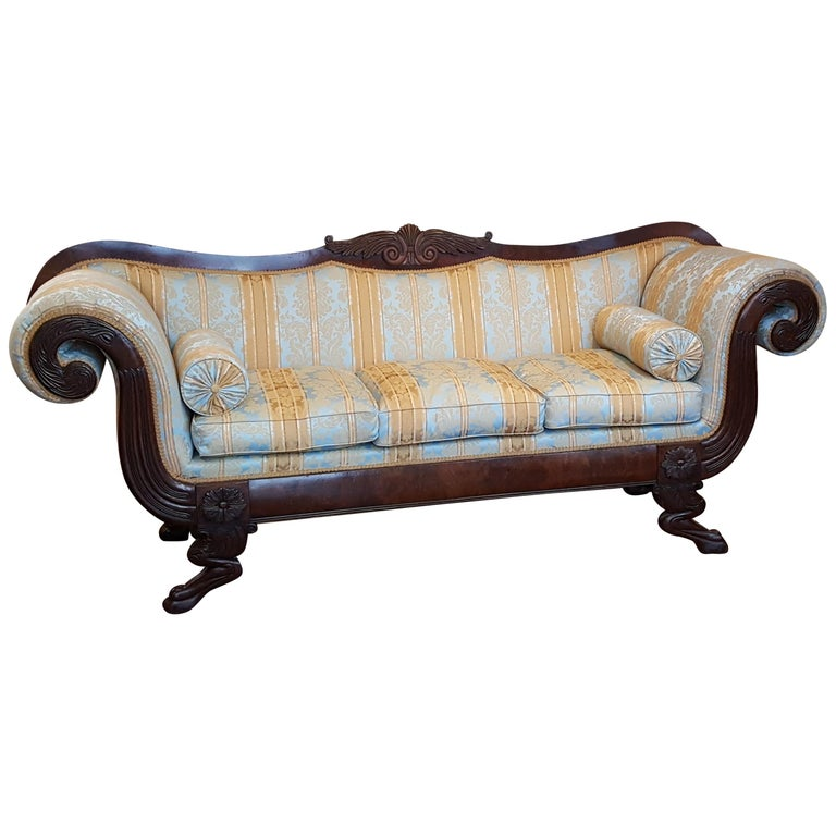 Regency Mahogany Framed Sofa For Sale