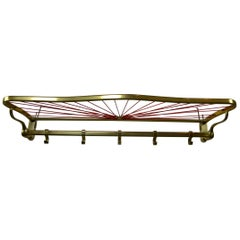 1950s Wall Coat Rack with Red Webbed Hat Rack, Brass-Plated Aluminium