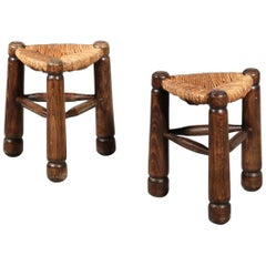 Pair of French Stools in the Style of Charlotte Perriand
