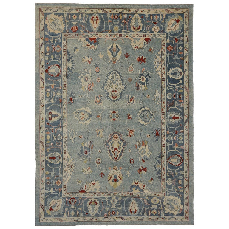 Contemporary Turkish Oushak Rug With Federal Style, Cape