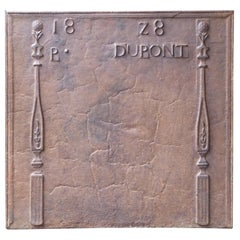 French Neoclassical Fireback with 'Pillars of Freedom', 19th Century