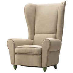 Guglielmo Ulrich Grand Reupholstered Wingback Chair, 1930s