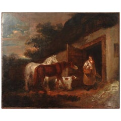 18th Century Oil Painting on Canvas of the Bell Inn, Manner of George Morland