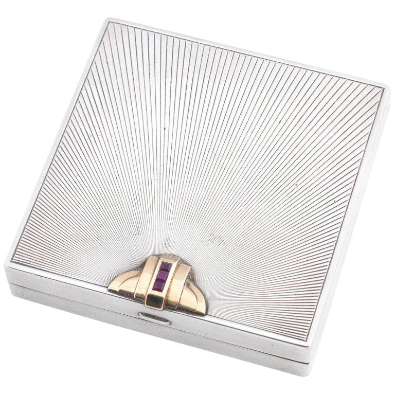 Tiffany & Co. American Art Deco Silver Gem Set Cigarette Case For Sale