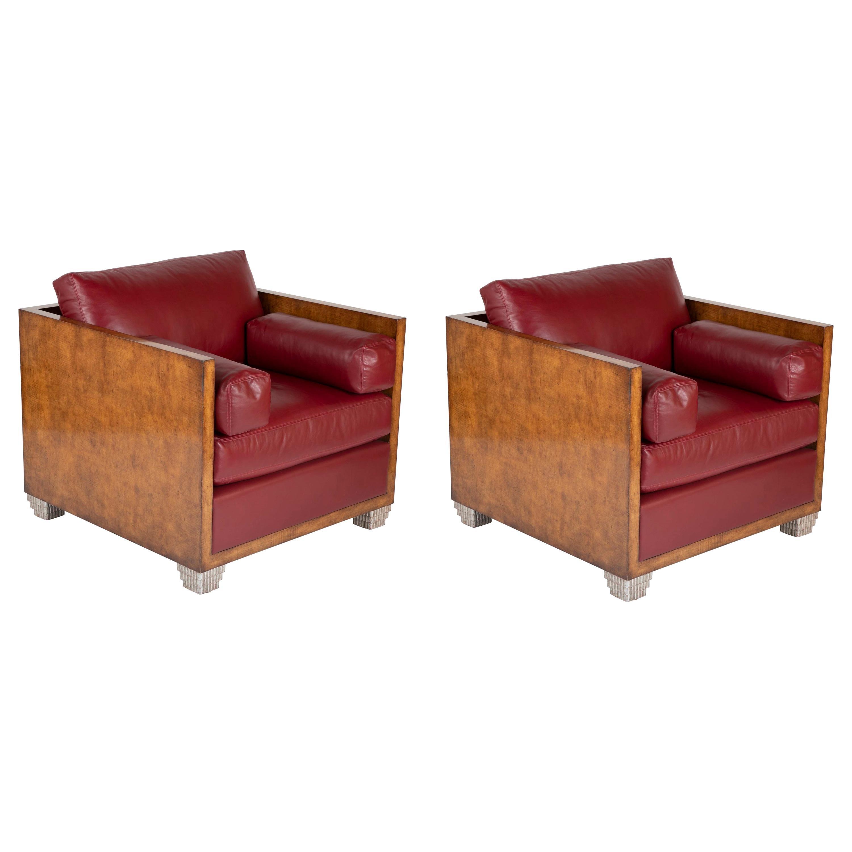 Therien Studio Workshops Custom Made Art Deco Style Club Chairs
