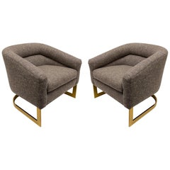 Pair of Brass and Fabric Lounge Chairs by Milo Baughman