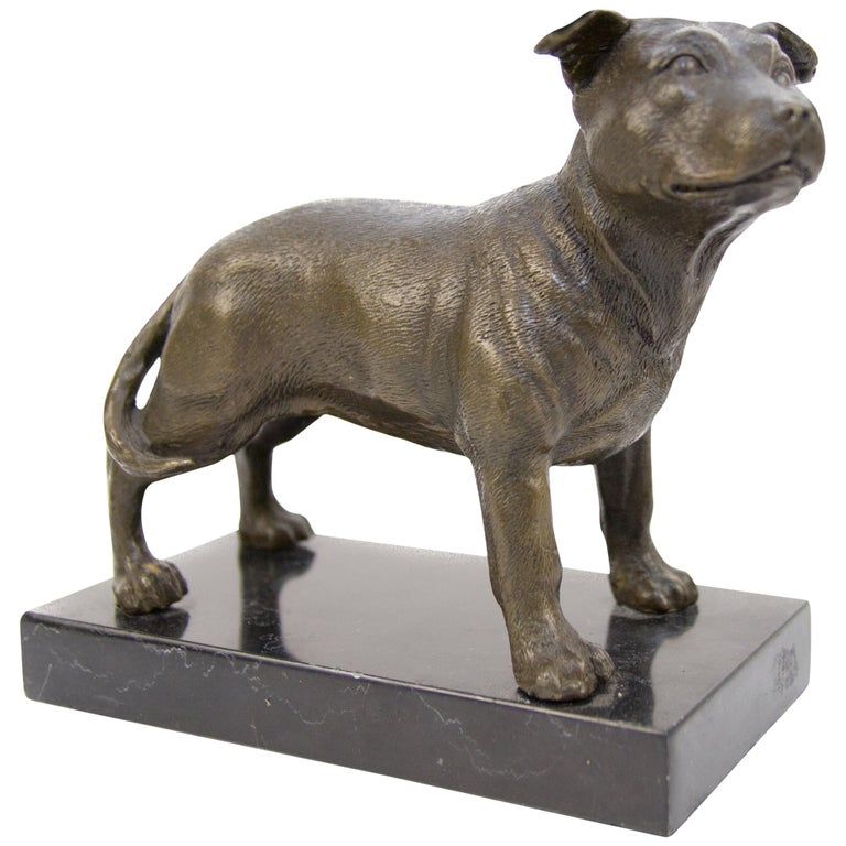 Bronze Dog Sculpture Staffordshire Bull Terrier on Marble For Sale