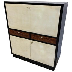 Italian Art Deco Black and Parchment Cabinet, 1940s