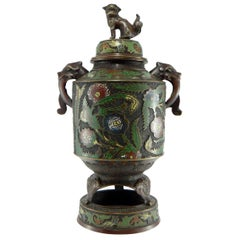 Japan, Late 19th Century, Important Bronze Covered Pot and Cloisonné