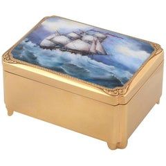 Sterling Silver Enamel Musical Box