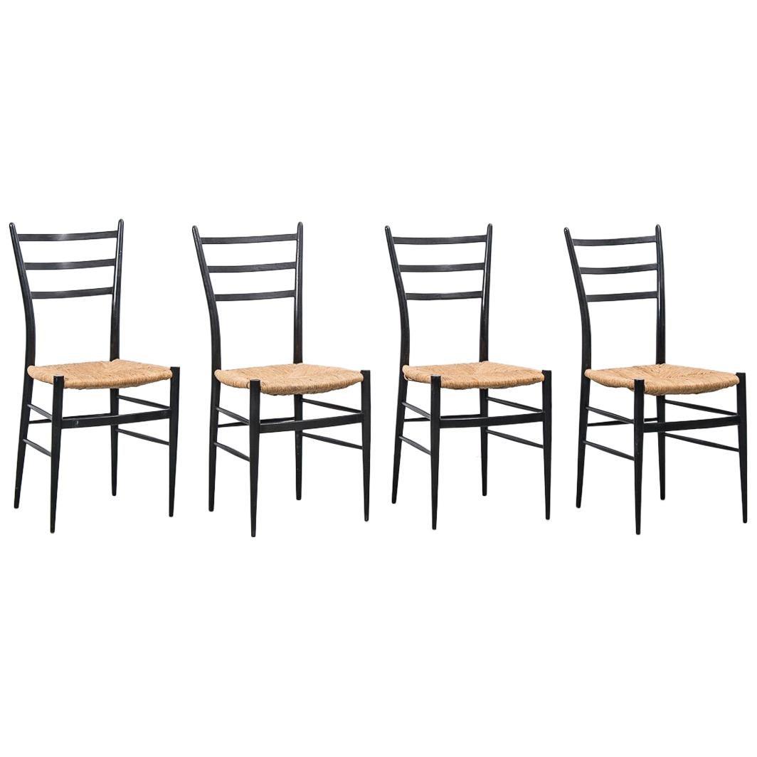 Set of 4 Chiavari Spinetto Dinning Chairs, Chiavari, Italy, 1950s