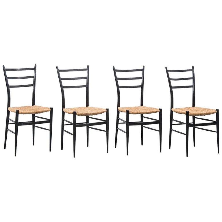 Set of 4 Chiavari Spinetto Dinning Chairs, Chiavari, Italy, 1950s For Sale