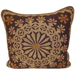 Vintage Cut-Out Dark Brown Cotton Applique Decorative Pillow