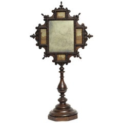 Table Mirror, Italy, 1830, with Paesina Stone, Splendid Wunderkammer Rarity