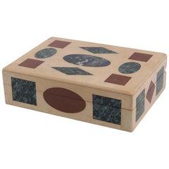 Multi-Gemstone Intarsia Box Made in Florence, Italy