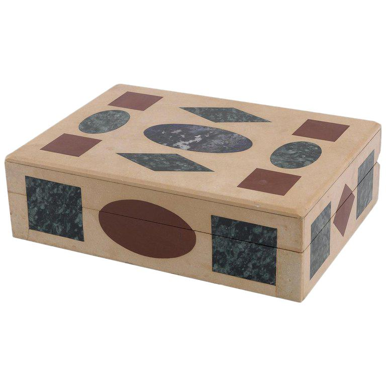 Multi-Gemstone Intarsia Box Made in Florence, Italy For Sale