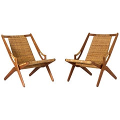 Pair of Rattan Lounge Chairs by Arne Hovmand Olsen