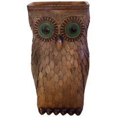 Delightful and Large Wooden Owl Vessel with Glass Eyes