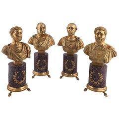 Codognato Large Four Italian Silver-Gilt and Hardstone Busts of Roman Emperors