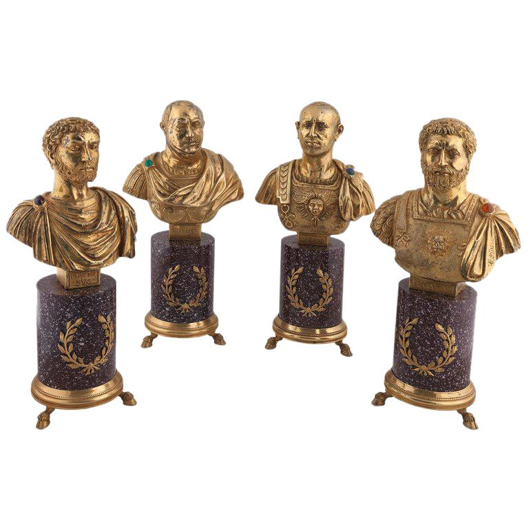 Codognato Large Four Italian Silver-Gilt and Hardstone Busts of Roman Emperors For Sale