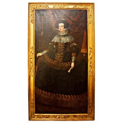 18th Century Oil Painting of Queen Isabella of Monumental Size