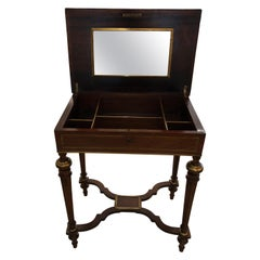 19th Century Mahogany and Brass Inlaid Side Table with Interior Compartments