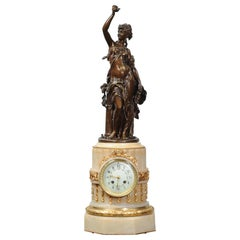 Antique French Onyx and Bronze Clock by Moreau and Japy Freres